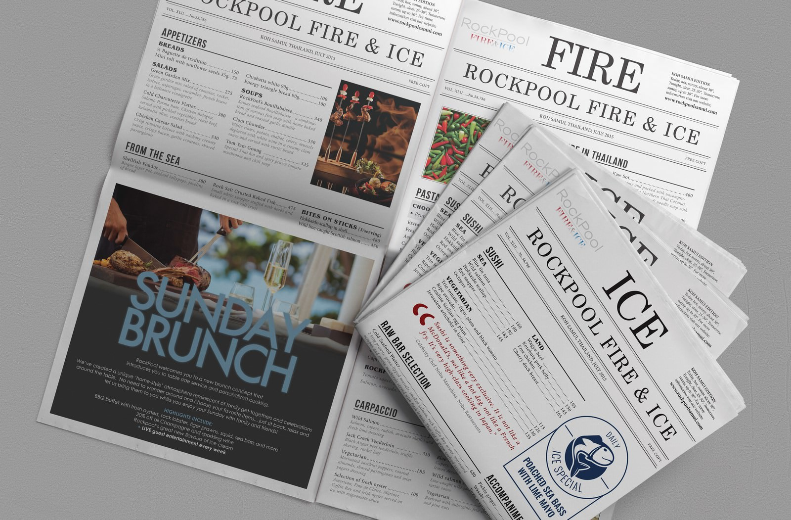 Newspaper-style Menu for RockPool Fire & Ice